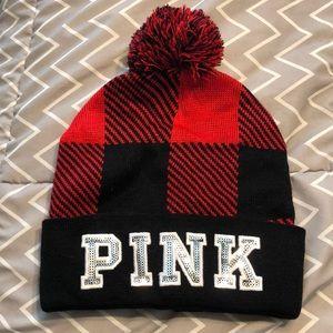 Buffalo plaid pink hat